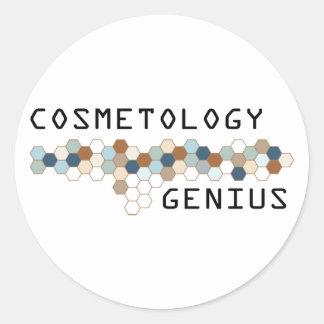 Genio de la cosmetología pegatina redonda