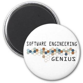Genio de la ingeniería de programas informáticos imán redondo 5 cm