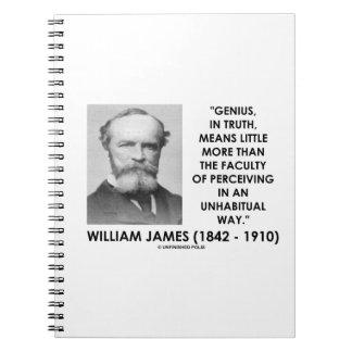 Genio de William James que percibe una manera de Notebook