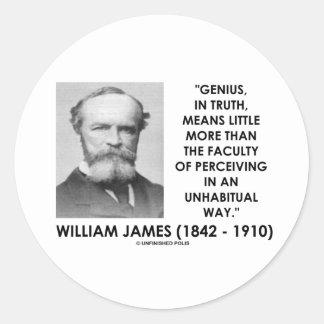 Genio de William James que percibe una manera de Etiquetas Redondas