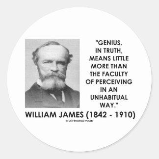 Genio de William James que percibe una manera de Pegatina Redonda