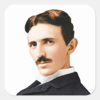 Genio eléctrico de Nikola Tesla Pegatina Cuadrada
