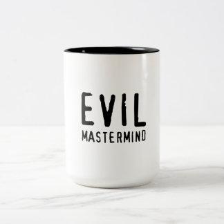 Genio malvado taza de café de dos colores