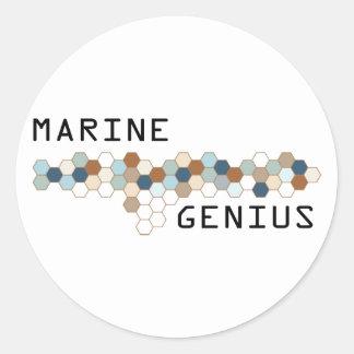 Genio marino pegatina redonda