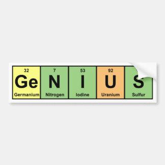 Genio - tabla periódica de productos de los elemen pegatina de parachoque