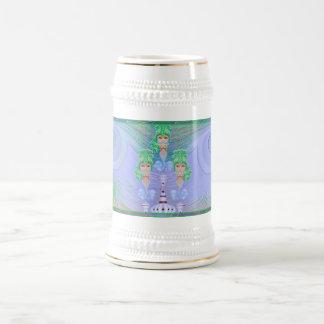 Genios en una botella jarra de cerveza