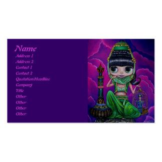 Genios verdes malvados con la botella mágica tarjetas de visita