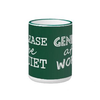 Genius at Work custom color mugs