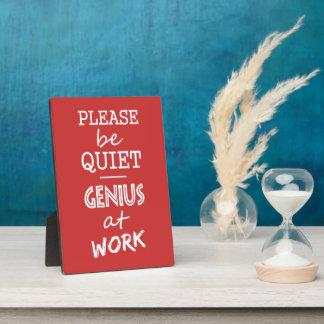 Genius at Work custom color plaque