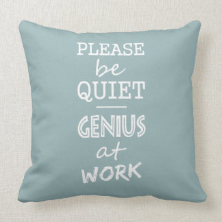 Genius at Work custom monogram & color pillow