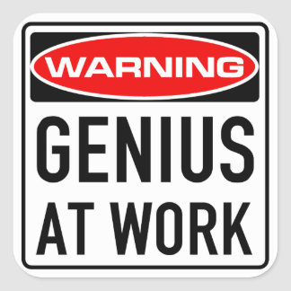 Genius At Work Funny Warning Road Sign Square Sticker