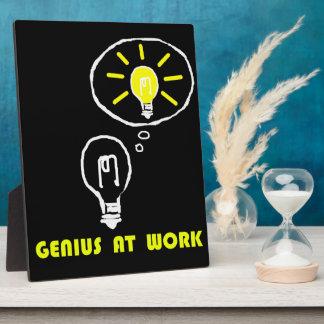 Genius at work plaque