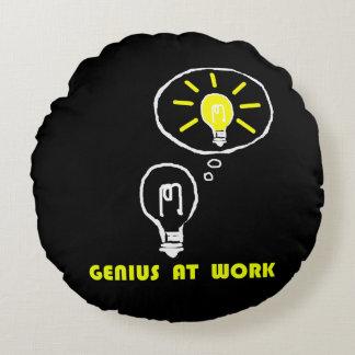 Genius at work round pillow