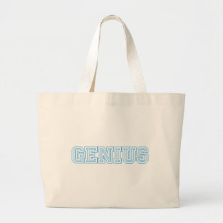 """""""Genius"""" Blue Customized Gifts Large Tote Bag"""