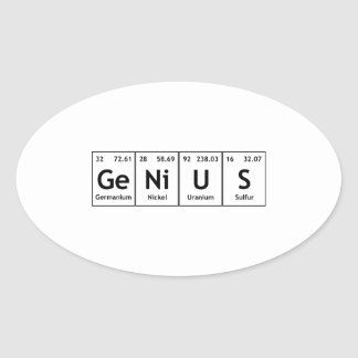 GeNiUS Chemistry Periodic Table Words Elements Oval Sticker