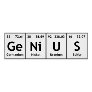genius chemistry periodic table words elements poster - Periodic Table Symbol Words
