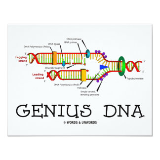 Genius DNA (DNA Replication Humor) 4.25x5.5 Paper Invitation Card