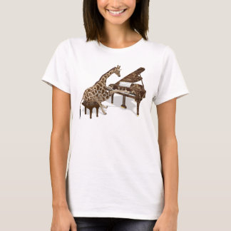 Genius Giraffe Playing Piano T-Shirt