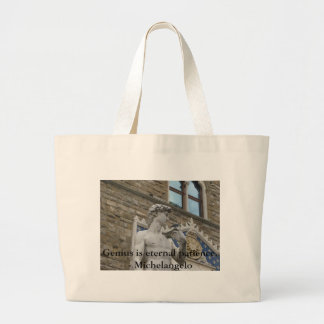 Genius is eternal patience. - Michelangelo quote Large Tote Bag