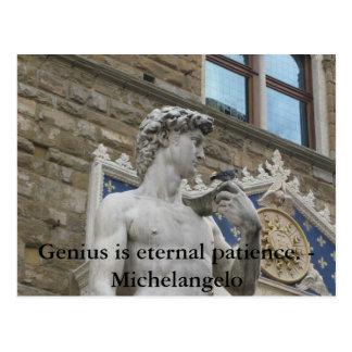 Genius is eternal patience. - Michelangelo quote Postcard