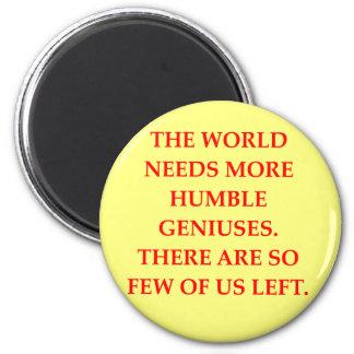genius joke 2 inch round magnet