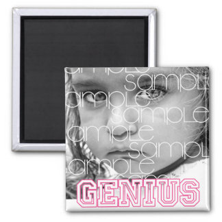 """""""Genius"""" Pink Customized Gifts 2 Inch Square Magnet"""