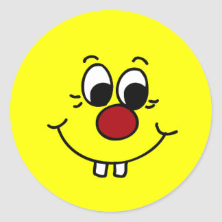 Genius Smiley Face Grumpey Classic Round Sticker