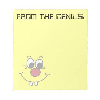 Genius Smiley Face Grumpey Notepad