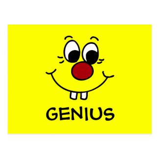 Genius Smiley Face Grumpey Postcard