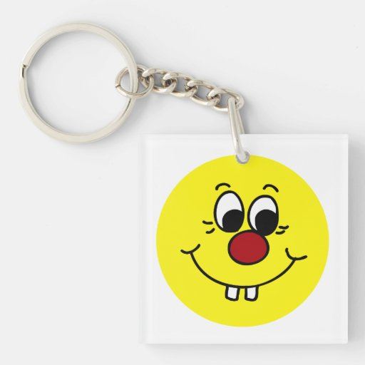 Genius Smiley Face Grumpey Square Acrylic Keychain