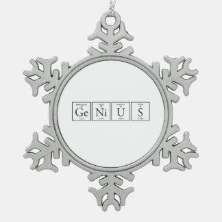 Genius Snowflake Pewter Christmas Ornament
