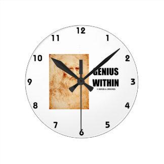 Genius Within (Leonardo da Vinci Self-Portrait) Round Wallclocks
