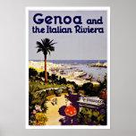 Genoa and Italian Riviera Italy Vintage Travel Poster