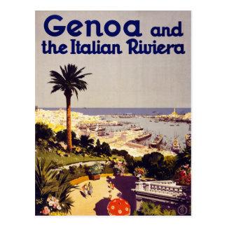 Genoa and the Italian Rivera Vintage Poster Restor Postcard