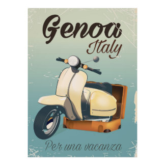 Genoa Italy For a vacation vintage poster