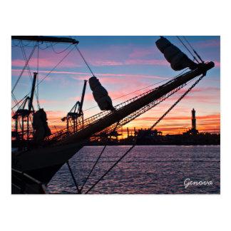 Genoa port postcard
