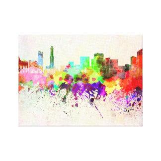 Genoa skyline in watercolor background