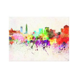 Genoa skyline in watercolor background gallery wrap canvas
