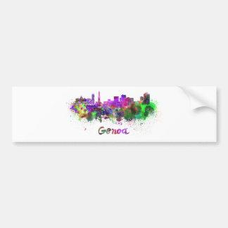 Genoa skyline in watercolor bumper stickers