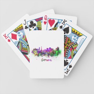 Genoa skyline in watercolor bicycle card decks