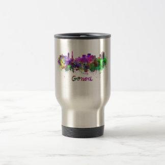 Genoa skyline in watercolor tazas de café
