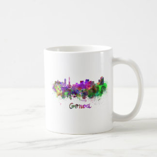 Genoa skyline in watercolor taza