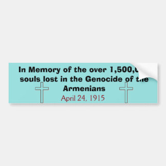 Genocidio armenio Bumpersticker Pegatina Para Auto