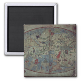Genoese world map, designed by Toscanelli 2 Inch Square Magnet