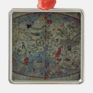 Genoese world map, designed by Toscanelli Metal Ornament