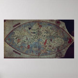 Genoese world map, designed by Toscanelli Poster