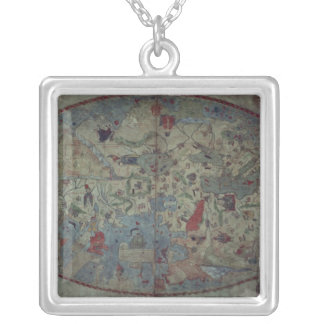 Genoese world map, designed by Toscanelli Silver Plated Necklace