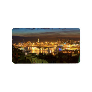 Genova and the port at evening label