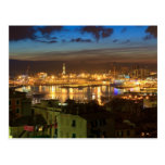 Genova and the port at evening post card
