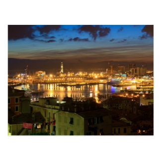 Genova and the port at evening postcard